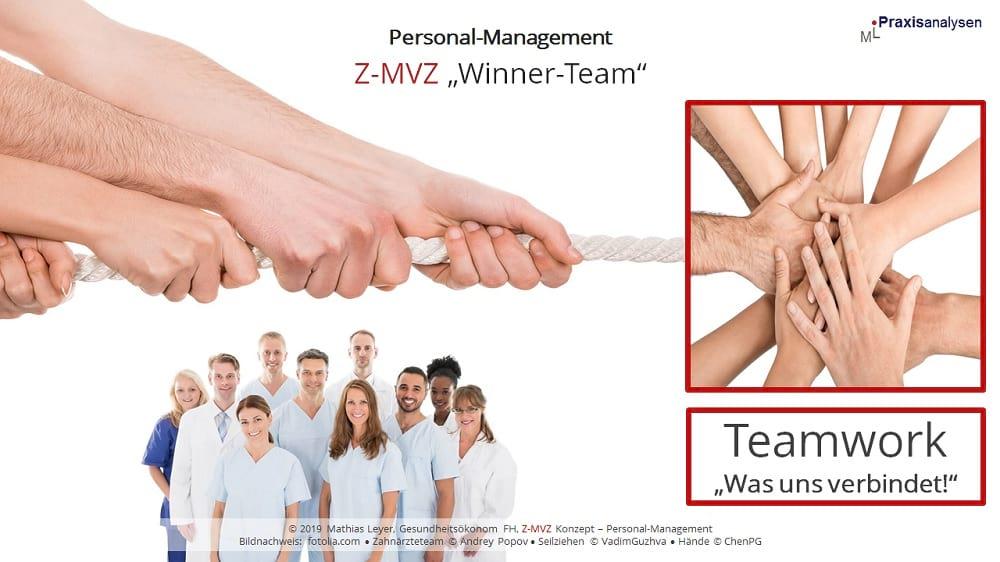 Teamwork in Zahnmedizinischen Versorgungszentren mit angestellten Zahnärzten/innen.