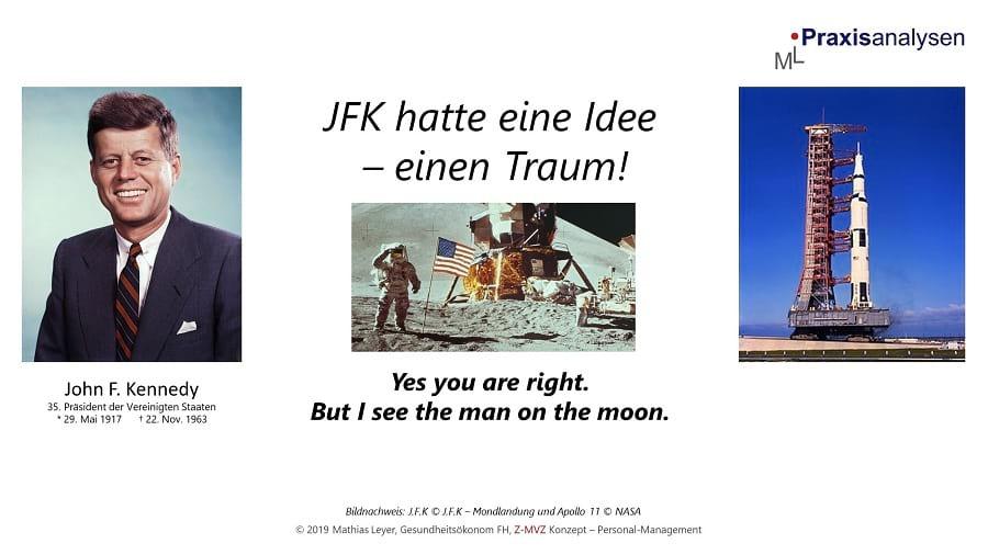John F. Kennedy hatte einen Traum und ließ sich von seiner Idee im Jahr 1961 nicht abbringen. Die bemannte Mondlandung. Verwirklicht wurde sie mit der Apollo 11 am 20. Juli 1967.